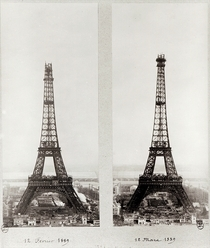 Two views of the construction of the Eiffel Tower von Bridgeman Art