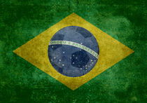Vintage Brazilian National flag featuring a football (soccer ball) by Bruce Stanfield