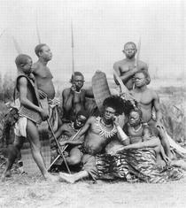 Warriors, Belgian Congo, 1894 von Bridgeman Art