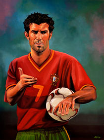 Luis Figo painting by Paul Meijering