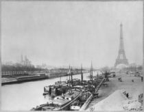 View of the banks of the Seine and the Eiffel Tower, Paris (b/w  by Bridgeman Art