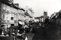 Market at Okehampton, Devon, c1900 by Bridgeman Art