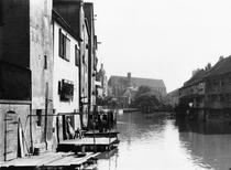 The River Gera at Erfurt, Thiringia, c.1910 (b/w photo) by Bridgeman Art
