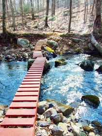 Red wooden bridge over a stream in the woods. by dreamcatcher-media
