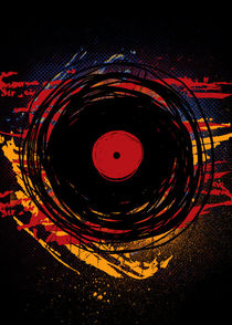Vinyl Record Retro Grunge Paint - Music DJ! by Denis Marsili