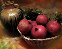 Pomegranate Basket and Clay Jar von Bedros Awak
