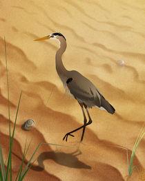Heron On Golden Sands by Bedros Awak