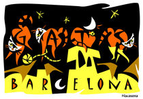 ART POSTCARDS 4 GATS BARCELONA von nacasona
