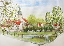 Fischteich vom Anglerverein und Kirchturm in Nemsdorf von Heike Jäschke