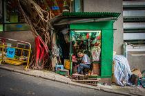 Shoemaker's shop on Hong Kong Island by Johannes Elze