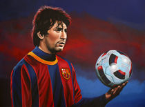 Lionel Messi at Barcelona painting von Paul Meijering