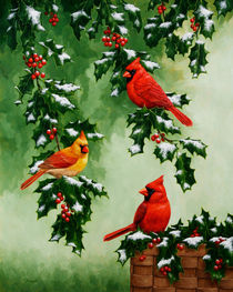 Cardinals and Holly by Crista Forest