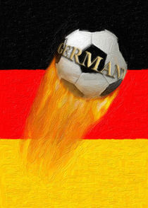 Flaming  Germany Soccer Ball by gravityx9