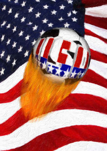 Flaming USA Soccer Ball by gravityx9