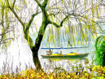 Am seichten Flussufer -At the shallow river bank- by Wolfgang Pfensig