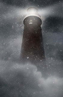 An old lighhouse with clouds and snow falling. von Jarek Blaminsky