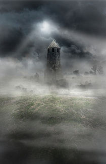 Foggy landscape with dark tower by Jarek Blaminsky