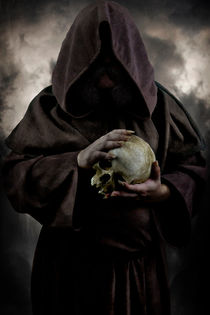 Hooded man with a skull by Jarek Blaminsky