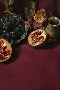 Still life with fruits and roses by Jarek Blaminsky
