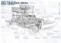 Technical Illustration V8 Stockcar by Roy Scorer