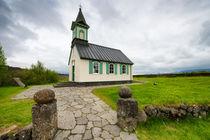 Kirche Pingvallakirkja Pingvellir Island Iceland by Matthias Hauser