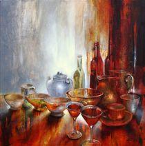 Stillleben mit grauer Teekanne by Annette Schmucker