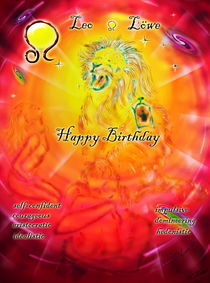 Zodiac sign Leo   Happy Birthday by Walter Zettl