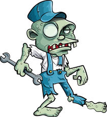 Cartoon zombie plumber with wrench von Anton  Brand