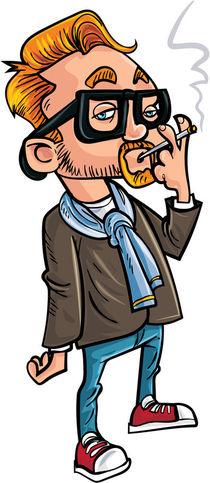 Cartoon hipster smoking a cigarette. von Anton  Brand