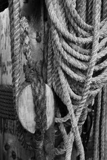 Coiled ropes and mast - monochrome von Intensivelight Panorama-Edition