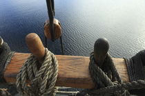 Belaying pins on a ship and calm blue sea von Intensivelight Panorama-Edition