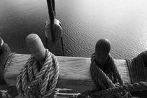 Belaying pins on a tall ship and calm waters - monochrome by Intensivelight Panorama-Edition