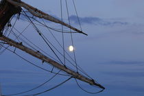 Moon shining through reefed sails on a tall ship von Intensivelight Panorama-Edition