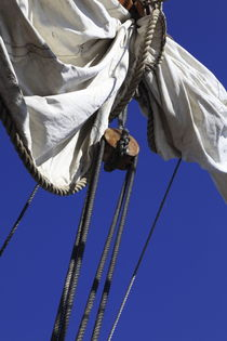 Reefed sail on a tall ship and blue sky by Intensivelight Panorama-Edition
