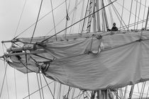 Mariner working in the rigging of a brig - monochrome by Intensivelight Panorama-Edition
