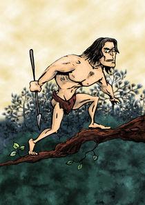 caveman on a pine tree by klemen gorup