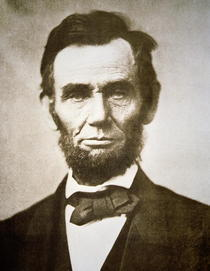 Abraham Lincoln (1809-65) 1863 (b/w photo)  by Bridgeman Art