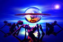 Saturn in Blau mit Menschen von bruder-d