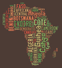 Africa-typography-countries-map