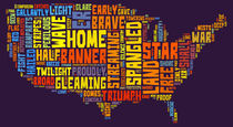 United States of America Map Star Spangled Banner Typography  von Florian Rodarte