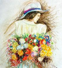 Frau mit Blumenstrauß von Irina Usova