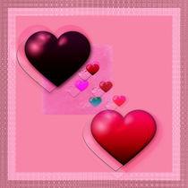 Herzcollage rosa von Christine Bässler