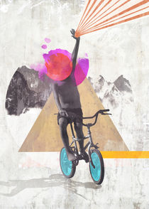 Rainbow child riding a bike von Mihalis Athanasopoulos
