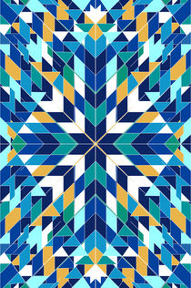 Triangles 2 abstract tribal blue pattern von Mihalis Athanasopoulos