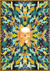 Triangles abstract tribal pattern with a skull von Mihalis Athanasopoulos