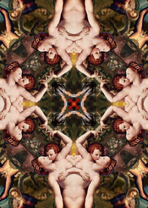 Floral abstract rennaisance pattern with angels kissing2 by Mihalis Athanasopoulos
