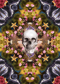 Floral abstract rennaisance collage with a skull by Mihalis Athanasopoulos