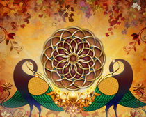 Autumn Serenade - Mandala Of The Two Peacocks von Peter  Awax
