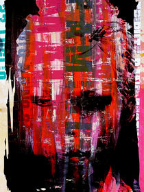 Face with pink and red stripes von Gabi Hampe