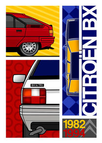 Citroen BX 1982 to 1994 Poster Illustration by Russell  Wallis